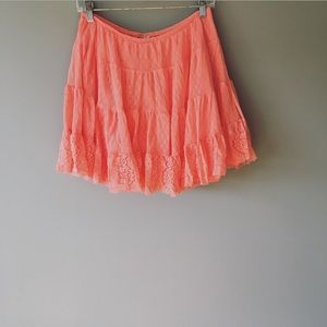 Intimately Free People Coral Lace Skirt Large
